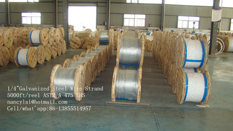 ASTM A 475 5000 Ft / Reel 1 4 Galvanized Aircraft Cable Wire Rope For Guy Wire